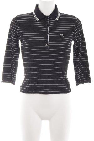 Chervo Polo-Shirt schwarz-weiß Streifenmuster Casual-Look