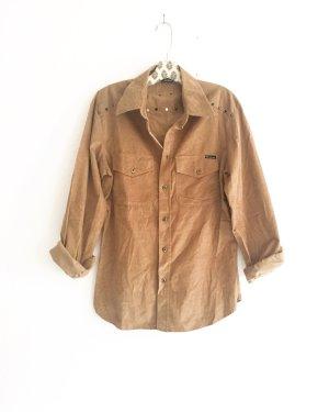 chestnut farbenes hemd von D&G / vintage / cognac / camelfarben / boho / hippiestyle / edgy / boyfriendhemd