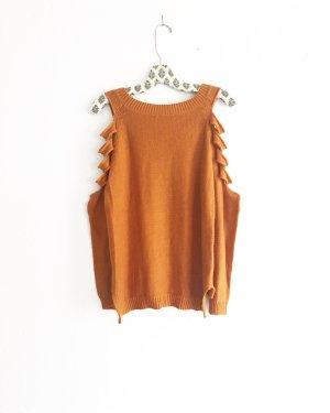 chestnutfarbener pulli / vintage / cognac / boho / hippie / strick / knits