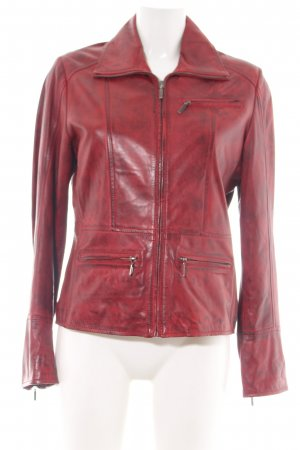 Chevirex Leather Jacket red casual look
