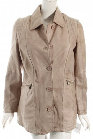 Chevirex Leather Jacket dusky pink casual look