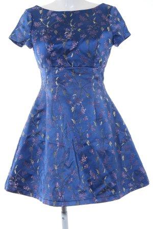 Chi Chi London A-Linien Kleid dunkelblau florales Muster Romantik-Look