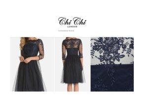 Chi Chi London Brandi Dress Cocktailkleid dunkelblau NEU