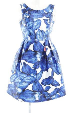 Chi Chi London Cocktailkleid blau-weiß Allover-Druck Elegant