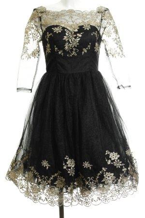 Chi Chi London Spitzenkleid schwarz-goldfarben florales Muster Elegant