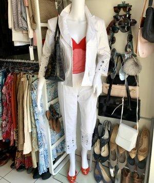 Traje de pantalón blanco-color plata