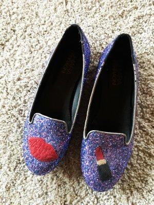 Chiara Scarpa slip-on blu-rosso mattone Pelle