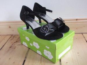 Chiara Strapped High-Heeled Sandals black textile fiber