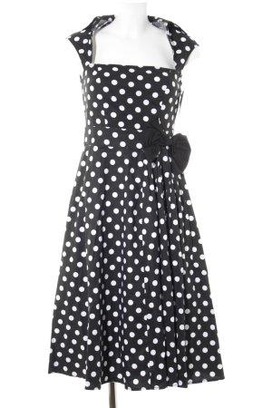 ChicStar Midi-jurk zwart-wit gestippeld patroon rockabilly stijl