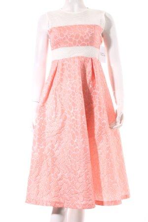 Chicwish A-Linien Kleid weiß-magenta abstraktes Muster Elegant