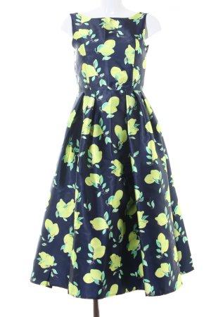 Chicwish Abendkleid dunkelblau-gelb Allover-Druck Elegant