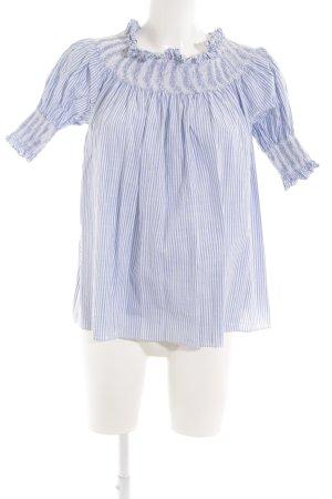 Chicwish Carmen-Bluse weiß-blau Streifenmuster schlichter Stil