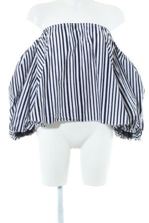 Chicwish Carmen-Bluse weiß-dunkelblau Streifenmuster Casual-Look