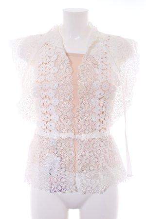 Chicwish Top a uncinetto bianco motivo floreale stile romantico