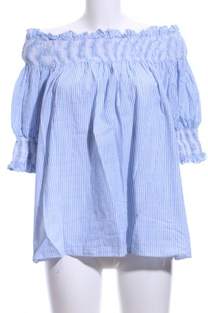 Chicwish Short Sleeved Blouse white-pale blue striped pattern casual look