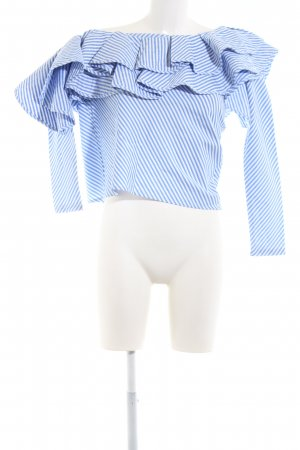 Chicwish One Shoulder Shirt blue-white striped pattern casual look