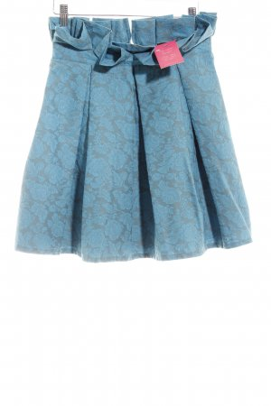 Chicwish Tellerrock graugrün-kadettblau florales Muster Romantik-Look