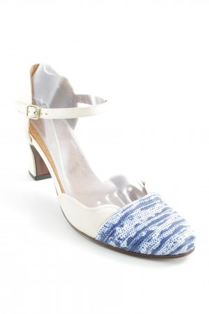 Chie Mihara Strapped pumps cream-steel blue mixed pattern casual look