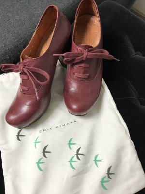 Chie Mihara Platform Booties bordeaux-brown leather