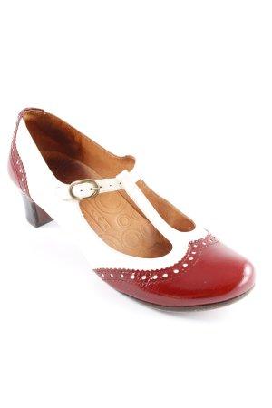 Chie Mihara Zapatos de tacón con barra en T blanco puro-carmín Estilo años 20