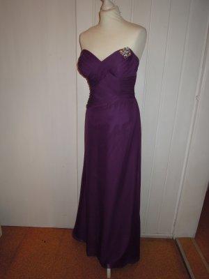 Chiffon Abendkleid Cocktailkleid Kleid Brosche Stola lila figurbetont 36 Abiball Hochzeit Standesamt tiefer Rückenausschnitt Herzausschnitt