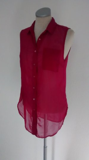 Chiffon Bluse ärmellos pink Gr. 36 Uk 8 Blusentop Top Oberteil