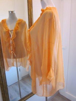 Camicetta con arricciature arancione chiaro-arancione