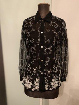 Ashley Brooke Lange blouse zwart-zilver