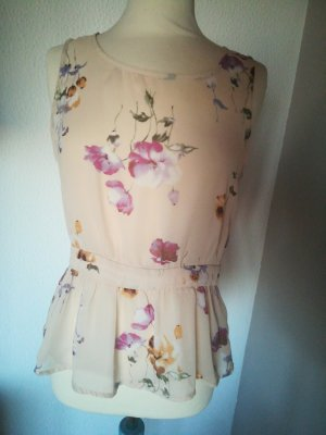 Chiffon Bluse ohne Arm floral nude beige Blumen forever21
