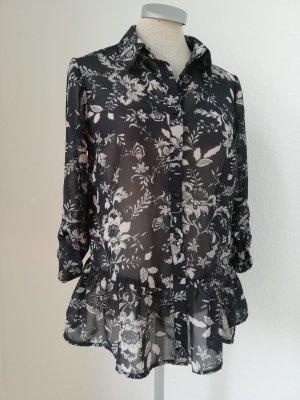 Chiffon Bluse schwarz weiß Schößchenbluse Gr. XS 34 neu