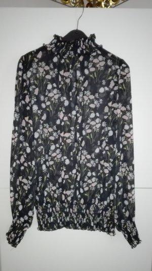 Chiffon Bluse Stehkragen Rollkragen Blumenmuster schwarz