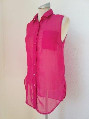 Chiffon Bluse Top Oberteil pink ärmellos Gr. UK 8 EUR 36 S Blusentop