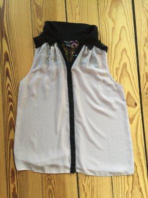 Chiffon-Bluse, Top, rosa, schwarz, Gr. 38/M, Spitze, Kragen