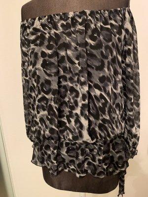 Chiffon Bluse Tunika Carmen Gr 34 36 XS Leoparden Muster