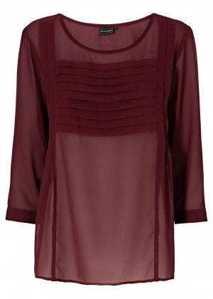 Chiffon Bluse Tunika Gr. 46 Bordeaux Falten 3/4 Arm Hot and Trendy