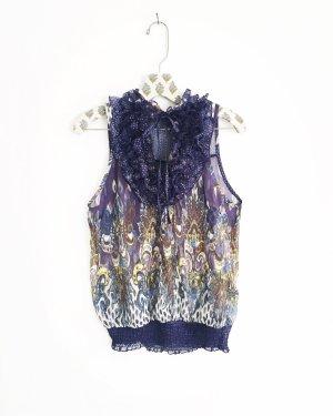 chiffon bluse / vintage / boho / hippie / purple / rüschen