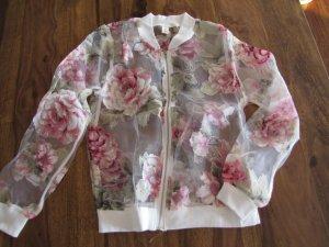 Chiffon Jacke Gr xS weiß rosa Rosen