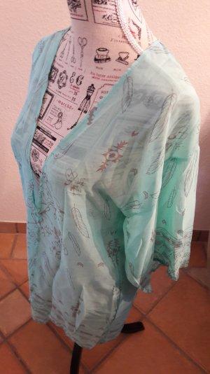 Blusa tipo kimono gris claro-turquesa