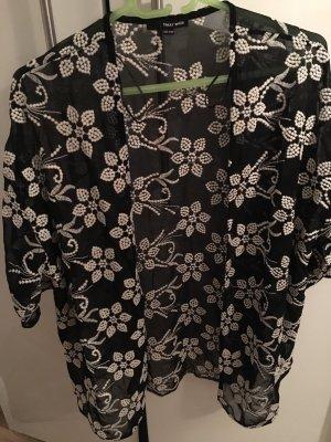 Tally Weijl Chemisier kimono noir-crème polyester