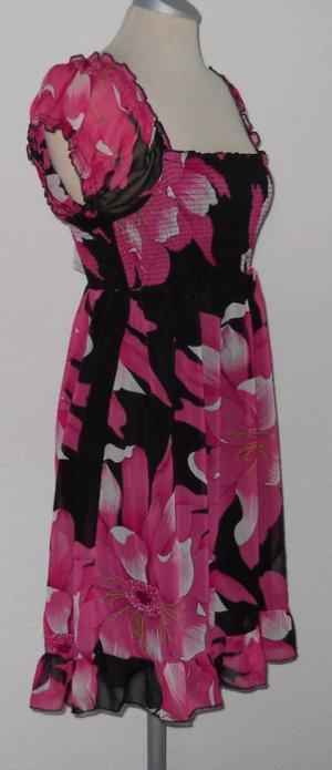 Chiffon Kleid Carmen schwarz rosa pink Blumen Sommer knielang kurz NEU S 36