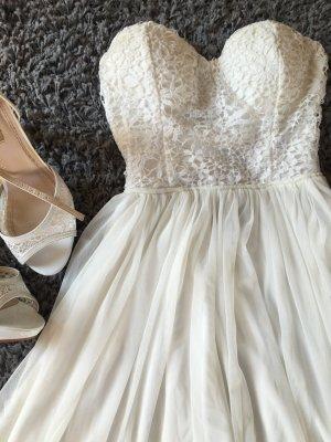 Chiffon Kleid Cocktail Dress  weiß XS schulterfrei