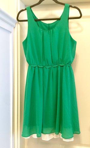 Chiffon jurk groen-wit