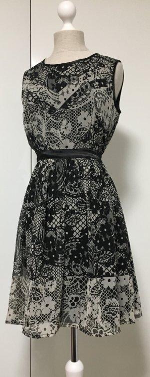 Chiffon Kleid in schwarz-grau