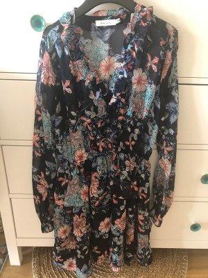 Chiffon Kleid L 40 neu mit Blumen Volant gefüttert Herbst