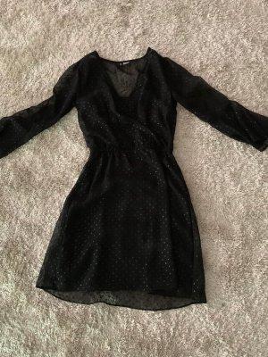 Chiffon Kleid mit Glieds Punkte Gr 34 XS in Black