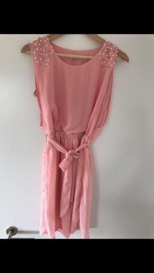 Chiffon Kleid Perlen rosa