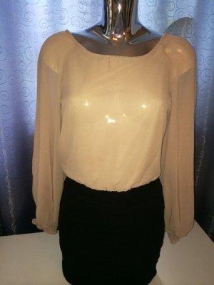 Chiffon Kleid schwarz beige / nude Gr. 36