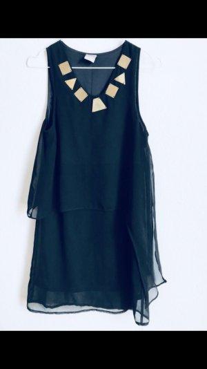 Chiffon Kleid schwarz mit gold 36/S