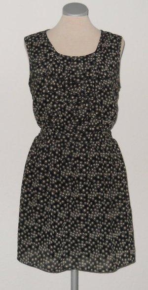Chiffon Kleid schwarz weiß Gr. 38 S M Punkte gerüscht Minikleid kurz