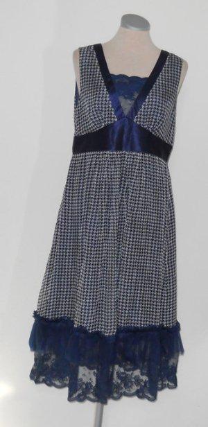 Chiffon Kleid Spitze blau weiß Satin Hahnentritt Gr. M 40 neu